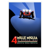 This Alfa Romeo poster celebrates the fourth Mille Miglia event of 1930 won by the great Tazio Nuvolari driving an Alfa Romeo 1750. The race was run over a figure of eight course covering a thousand miles from Brescia via Rome and back again to finish in Brescia. In the 1930 race Nuvolari cheekily surprised his great rival Achille Varzi by overtaking at night with his headlamps switched off.