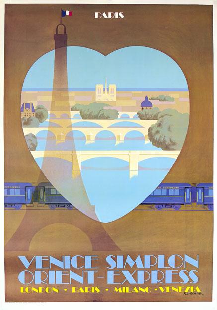 Venice Simplon Orient Express, Paris. VSOE Vintage Travel Poster